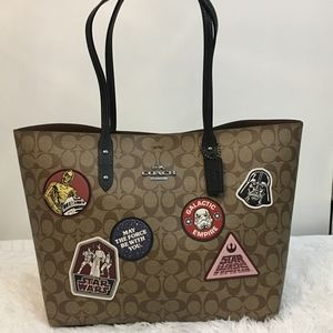 NWT Coach Star Wars Brown Canvas Shoulder Bag